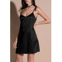 Women's Summer Collection Plain Bow Tie Spaghetti Straps Mini Cami Dress