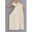 Unique Plain Hollow Out Mock Neck Sleeveless Leisure Summer Tank