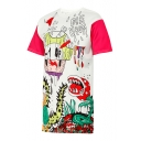 Chic Cartoon Letter Print Round Neck Short Sleeves Graphic T-shirt