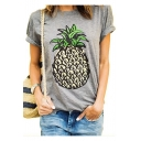 Summer's New Arrival Pineapple Printed Round Neck Short Sleeve Leisure Tee