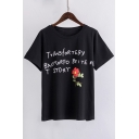 Fashionable Letter Floral Print Round Neck Short Sleeves Casual Tee