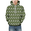 Unisex Fashion Deer Print Long Sleeves Pullover Leisure Hoodie