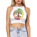 Unique Colorful Tree Pattern Sleeveless Slim Fit Cropped Summer Tank Top