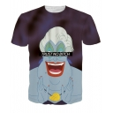 3D Cartoon Character Letter Printed Round Neck Short Sleeve Loose Tee
