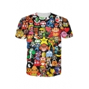 Digital Pixel Game Cartoon Print Round Neck Short Sleeves Summer Tee