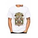 Chic Cartoon Game Character Printed Round Neck Short Sleeve Unisex Tee
