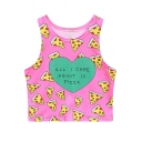 Lovely Pizza Letter ALL I CARE ABOUT Print Round Neck Sleeveless Cropped Tank