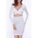 Sexy V Neck Hollow Out Long Sleeve Plain Mini Bodycon Dress