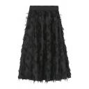 Popular Feather Embellished Plain Elastic Waist Maxi A-Line Skirt