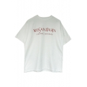 Chic Simple Letter Printed Round Neck Short Sleeve Loose Leisure Tee