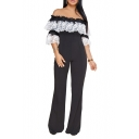 Chic Lace Panel Off the Shoulder Bootcut Leg Women's Stylish Jumpsuit