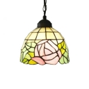 Floral Theme Hanging Lamp Tiffany Vintage 6