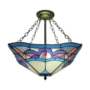 18 In Wide 3-Light Semi Flush Mount with Tiffany Stained Glass Shade in Multicolored