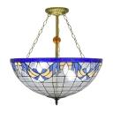 3-Light Inverted Semi-Flush Lamp in Bowl Shaped, Tiffany-Style 22
