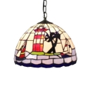 Tiffany Style Nautical Pendant Light with Dome Shaped Glass Shade in Colorful, 12-Inch Wide