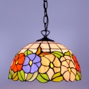 Multicolored Floral Pendant Light Tiffany Style 2-Light Ceiling Fixture with Art Glass Shade, 16-Inch Wide