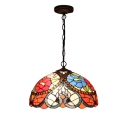 2 Light 16-Inch Wide Pendant Light with Dome Pattern Glass Shade in Multicolored, Tiffany Style