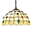 20-Inch Wide Hanging Pendant Tiffany Dome Glass Shade with Colorful Jewels, 2-Light