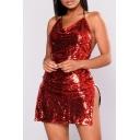 Popular Sequined Design Halter Neck Sleeveless Open Back Split Side Mini Cami Dress