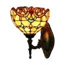 Single Light Upward Bowl Design Wall Sconce with Tiffany Multi-colored Glass Shade