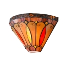 Vintage Multicolored 2 Light Wall Sconce with Tiffany Art Glass Shade in 12-Inch Wide