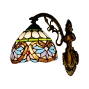 Vintage Victorian Design Tiffany Wall Lamp with Stained Glass Shade 8