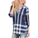 Classic Plaid Printed V Neck 3/4 Length Sleeve Blouse