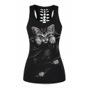 Fashion Hollow Out Back Cat Printed Round Neck Sleeveless Slim Tank