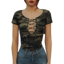 Camouflage Printed Lace Up Front Short Sleeve Bodysuit