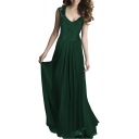 Women's Fashion Lace Insert V-Neck Sleeveless Maxi Elegant Plain Dress