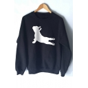 Bulldog Yoga Pose Pattern Long Sleeve Loose Pullover Sweatshirt