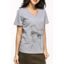 Glasses Dog Printed V Neck Short Sleeve Leisure Comfort Tee
