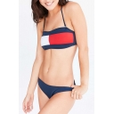 Popular Color Block Halter Neck Women's Beach Swimwear Bikini