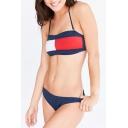 Popular Color Block Halter Neck Women's Beach Swimwear Bikini