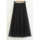 Fancy Pearl Embellished Elastic Waist Mesh Maxi A-Line Skirt