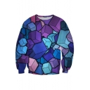Casual Style Cube Print Color Block Round Neck Long Sleeves Pullover Sweatshirt