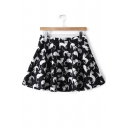 Spring's New Arrival Cat Printed Zipper Fly Mini A-Line Skirt