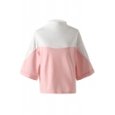 High Neck Color Block Wide Sleeve Patchwork Spring Tee Top