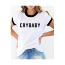 Contrast Trim CRY BABY Letter Printed Round Neck Short Sleeve Tee