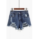 Popular Ripped Zipper Fly Leisure Hot Pants Denim Shorts