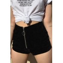 Hot Sale Plain High Waist Zipper Fly Velvet Slim Fit Skinny Shorts