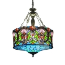 Tiffany Baroque Chandelier with Colorful in Stained Glass