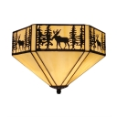White Tiffany Flush Mount Ceiling Light with Loft Deer Pattern Hexagon Shade