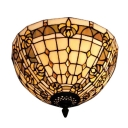 Bowl Shaped Flush Mount Ceiling Fixture 2-Light Tiffany 12-Inch Wide Glass Lampshade