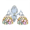 14-Inch Wide Tiffany Glass Wall Sconce with Colorful Flower and Robin Shade, 2-Light