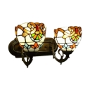 Vintage Baroque Tiffany Style Double Light Wall Sconce with Multicolored Glass Shade in 16-Inch Wide