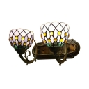 Simple Design 14-Inch Wide Tiffany Style 2 Light Wall Lamp Up Lighting