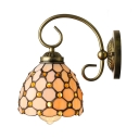 Vintage Wall Sconce with 6''W Dome Pattern Glass Shade in Bronze Finish