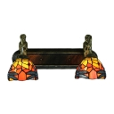 Dragonfly Stained Glass Shade 2 Light Hallway Wall Lighting with Belle Supported