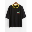 Contrast Round Neck Short Sleeve Cactus Letter Embroidered Leisure Tee